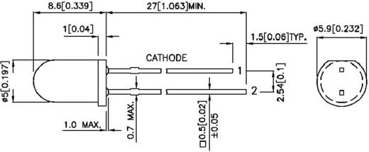 Kingbright L-56BHD LED bedraad Rood Rond 5 mm 5 mcd 60 ° 20 mA 1 stuks