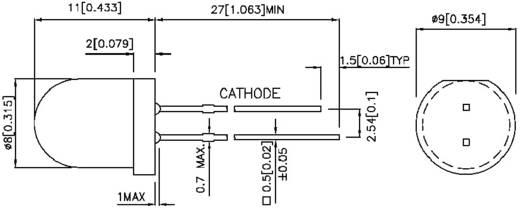 Kingbright L-796BID LED bedraad Rood Rond 8 mm 60 mcd 60 ° 20 mA