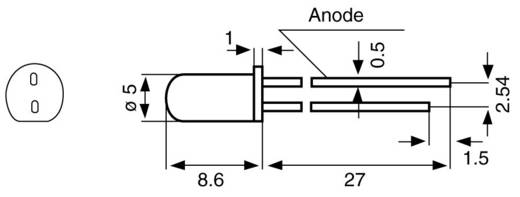 LED bedraad Rood Rond 5 mm 60 ° 11 mA
