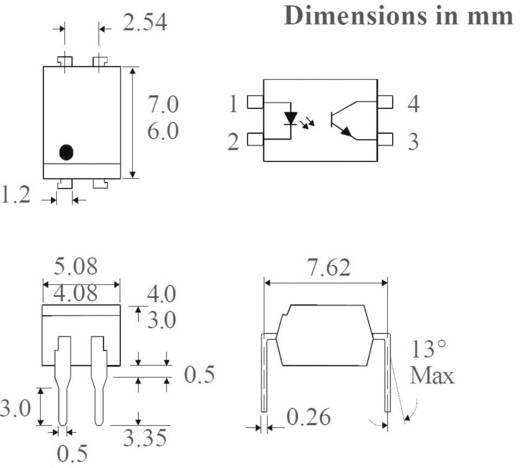Optocoupler fototransistor Isocom Components SFH618A-3XSMT/R SMD-4 Transistor DC