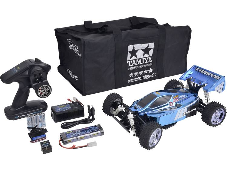Tamiya NeoScorcher 1:10 Brushed RC auto Elektro Buggy 4WD Bouwpakket 2,4 GHz Incl. accu, oplader en