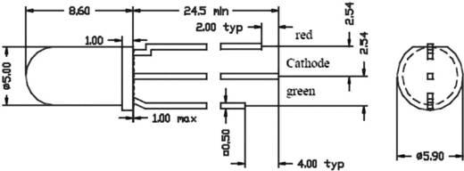 CQX 95 / WU-1-91EWG LED meerkleurig Rood, Groen Rond 5 mm 90 mcd, 70 mcd 60 ° 20 mA 2 V, 2.1 V