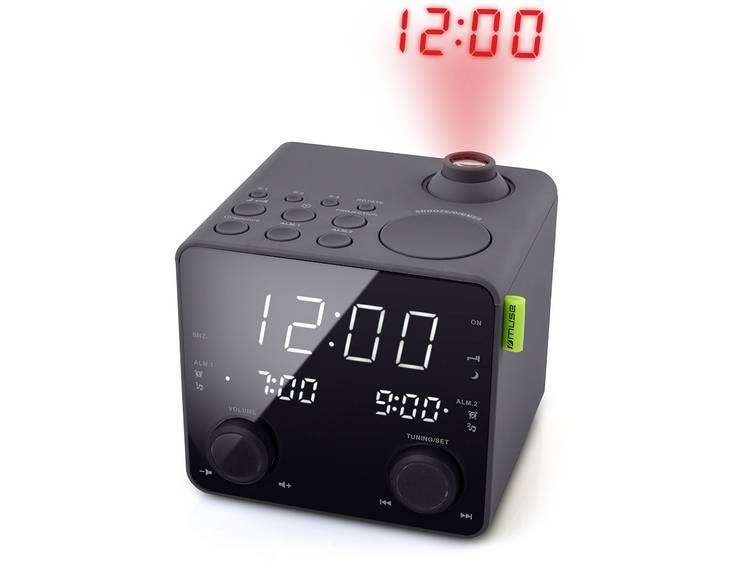 Muse M189P FM Wekkerradio AUX, USB Accu laadfunctie Zwart