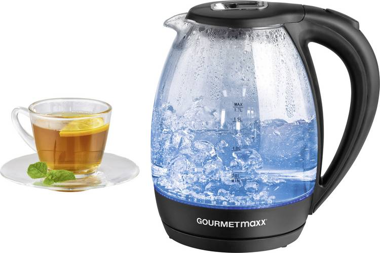 GourmetMaxx 07971 Waterkoker Snoerloos Zwart. Glas