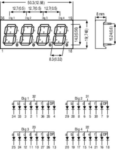7-segments-display Rood (high efficiency red) 14 mm 2 V Aantal cijfers: 4 Kingbright CC56-11EWA