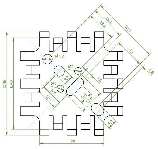 Vingerkoellichamen 8 K/W (l x b x h) 45 x 45 x 12.7 mm TO-3, TO-55, SOT-9, SOT-32, TO-220 Fischer Elektronik