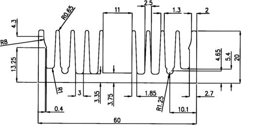 Profielkoellichaam 4.45 K/W (l x b x h) 100 x 60 x 20 mm