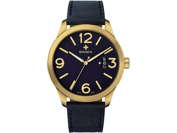 SWIZA Quartz Horloge WAT.0871.1301 (Ø) 48 mm Goud Materiaal (behuizing): RVS Materiaal (armband): Kalfsleer