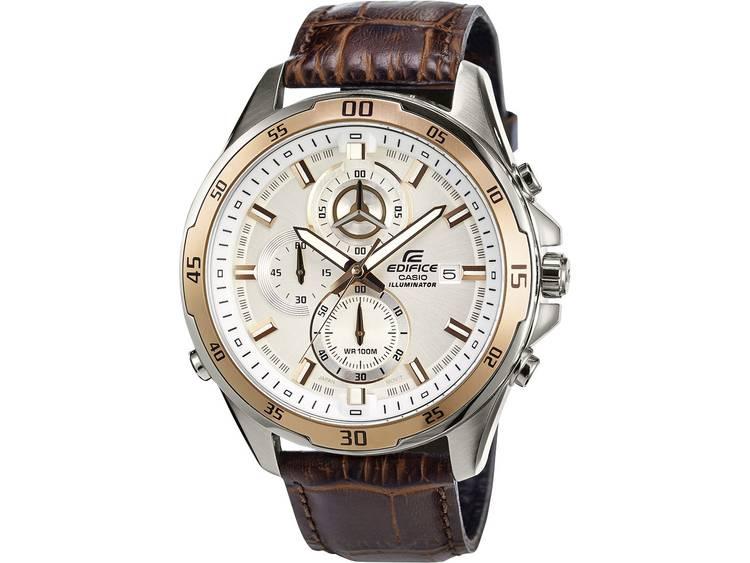 Casio Chronograaf Horloge EFR-547L-7AVUEF (l x b x h) 54 x 47.2 x 13.9 mm Goud, Bruin Materiaal (behuizing): RVS Materiaal (armband): Leer