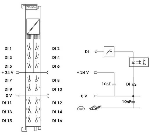 WAGO 750-1406 PLC-ingangskaart 24 V/DC