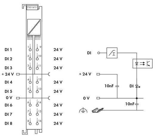 WAGO 750-1415 PLC-ingangskaart 24 V/DC