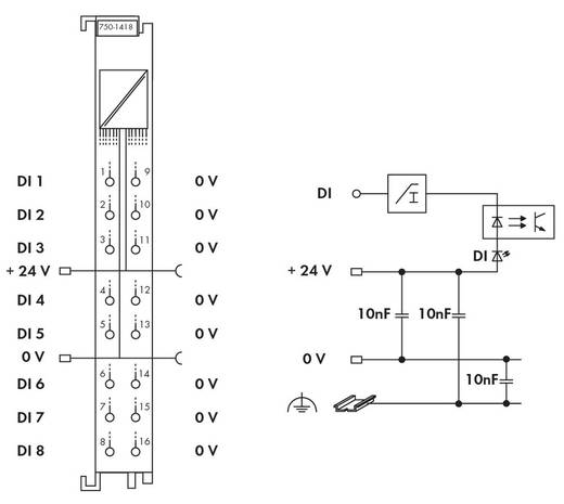 WAGO 750-1418 PLC-ingangskaart 24 V/DC