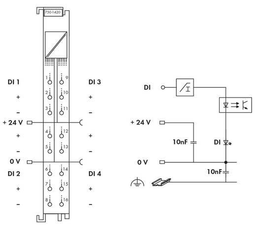 WAGO 750-1420 PLC-ingangskaart 24 V/DC
