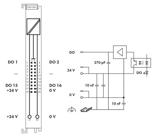 WAGO 750-1501 PLC-uitgangskaart 24 V/DC