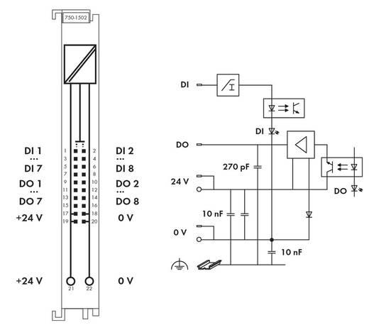WAGO 750-1502 PLC-uitbreidingsmodule 24 V/DC