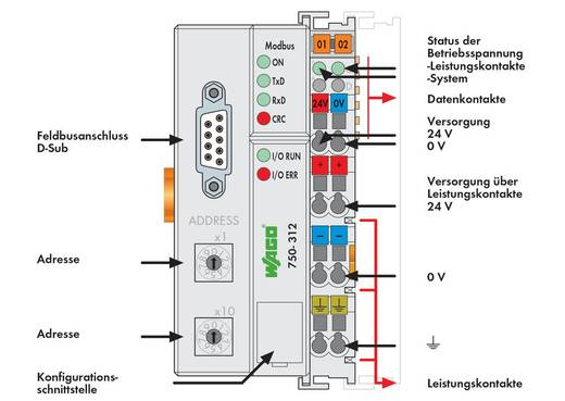 WAGO 750-312 PLC-busaansluiting 24 V/DC 1 stuks