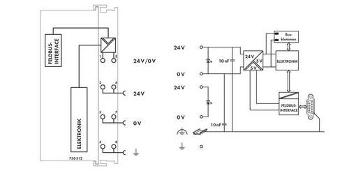 WAGO 750-316 PLC-busaansluiting 24 V/DC