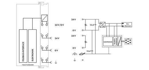 WAGO 750-319/004-000 PLC-busaansluiting 24 V/DC 1 stuks