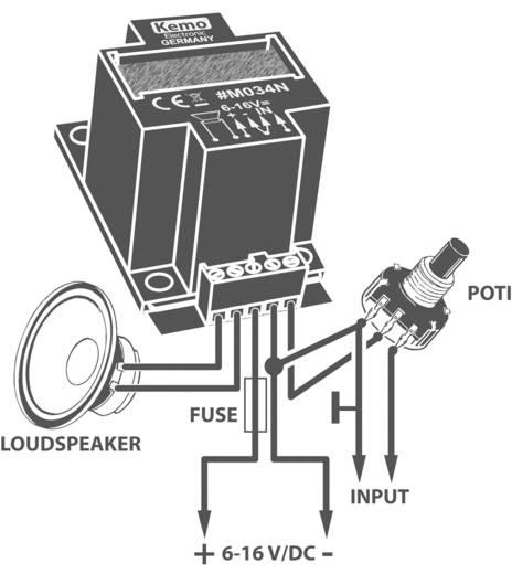 Kemo M034N Mono-versterker Module 6 V/DC, 9 V/DC, 12 V/DC, 16 V/DC 40 W 4 Ω