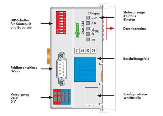 WAGO 750-348 PLC-busaansluiting 24 V/DC 1 stuks