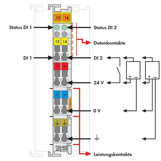 WAGO 750-400/025-000 PLC-ingangskaart 24 V/DC