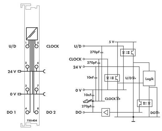 WAGO 750-404 PLC-teller 24 V/DC 1 stuks