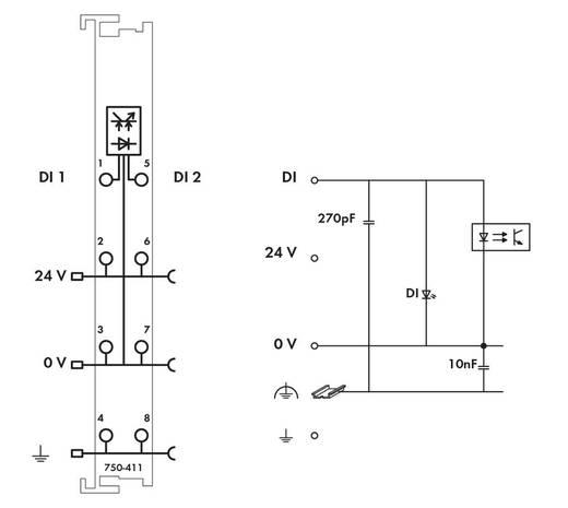 WAGO 750-411 PLC-ingangskaart 24 V/DC