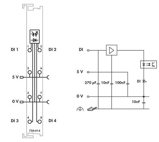WAGO 750-414 PLC-ingangskaart 5 V/DC