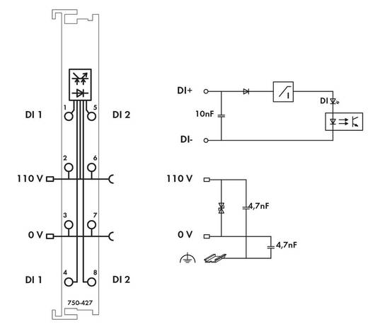 WAGO 750-427 PLC-ingangskaart 110 V/DC