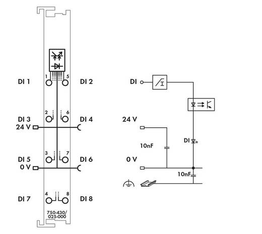 WAGO 750-430/025-000 PLC-ingangskaart 24 V/DC