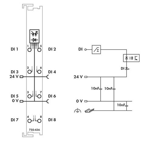 WAGO 750-436 PLC-ingangskaart 24 V/DC