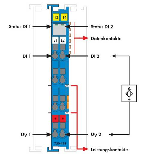 WAGO 750-438 PLC-ingangskaart 24 V/DC