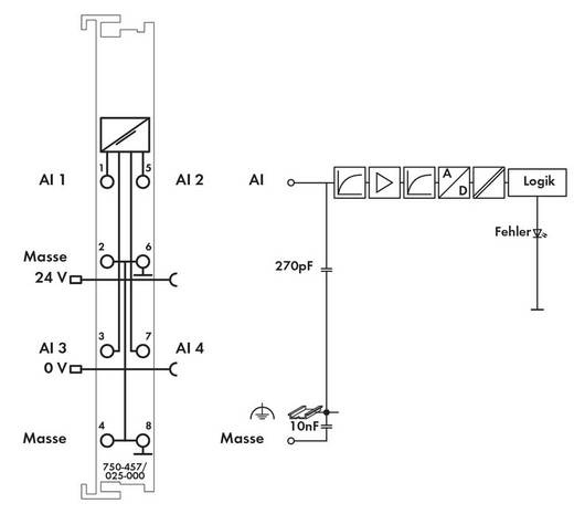 WAGO 750-457/025-000 PLC-ingangskaart 24 V/DC