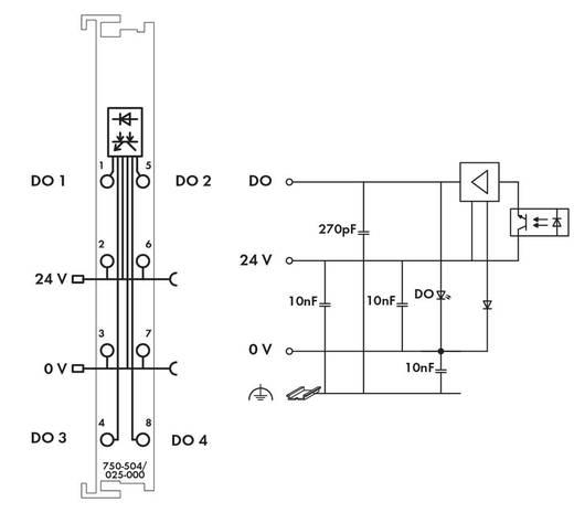 WAGO 750-504/025-000 PLC-uitgangskaart 24 V/DC
