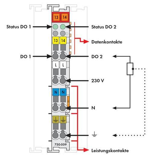 WAGO 750-509 PLC-uitgangskaart 230 V/DC, 230 V/AC