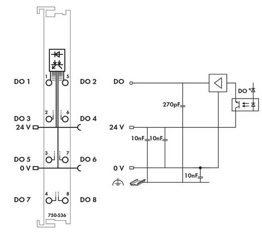 WAGO 750-536 PLC-uitgangskaart 24 V/DC