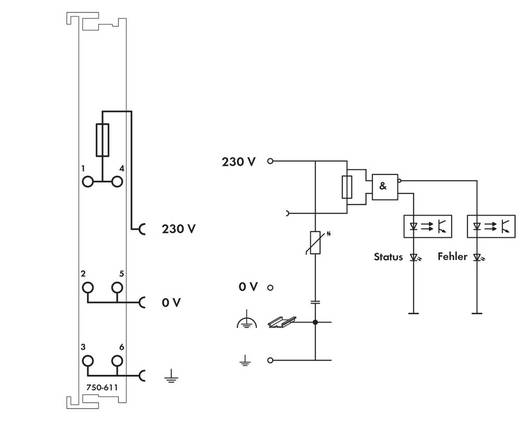 WAGO 750-611 PLC-klem 230 V/AC 1 stuks