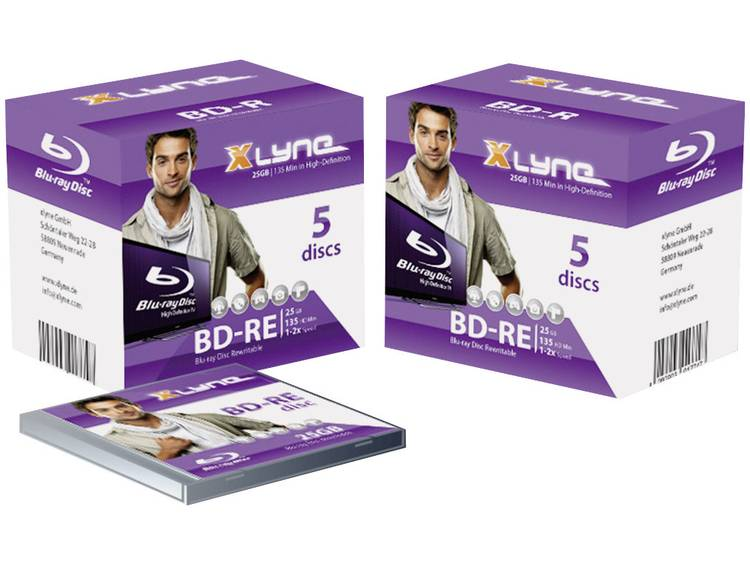 Xlyne 8J05001 Blu-ray BD-RE disc 25 GB 5 stuks Jewelcase
