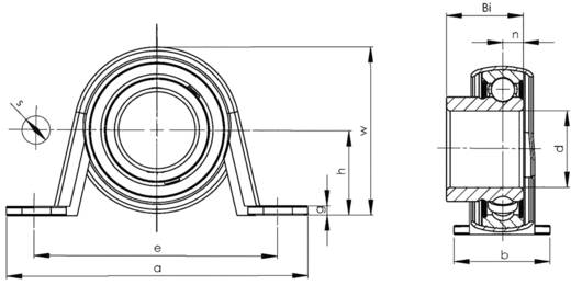 UBC Bearing SBPP 206 Staand lager Plaatstaal Boordiameter 30 mm Gatafstand 95 mm