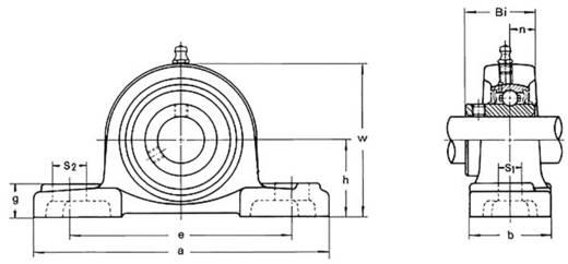 HTB UCP 206 Staand lager Gietijzer Boordiameter 30 mm Gatafstand 121 mm