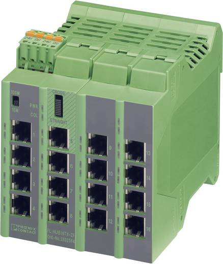 Industriële switch unmanaged Phoenix Contact FL HUB 16TX-ZF Aantal ethernet-poorten 16 LAN-overdrachtsnelheid 100 Mbit/s Voedingsspanning (num) 24 V/DC