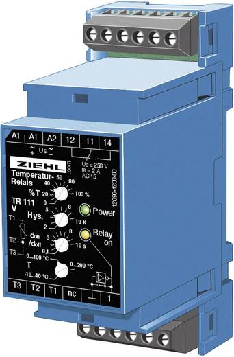 Ziehl TR 111 Temperatuurregelaar Pt100 -10 tot +200 °C Relais 5 A (l x b x h) 58 x 35 x 90 mm