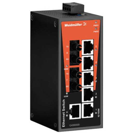 Industriële switch unmanaged Weidmüller IE-SW-BL08-6TX-2ST Aantal ethernet-poorten 6