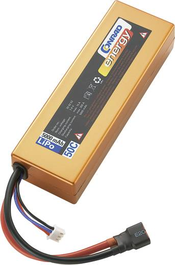 LiPo accupack 7.4 V 5000 mAh 50 C Conrad energy Box hardcase T-bussen