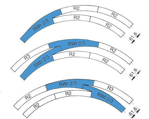 H0 Roco RocoLine (zonder ballastbed) 42464 Gebogen wissel, Links 30 ° 358 mm