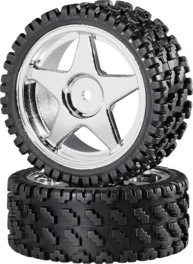 Reely 1:10 Buggy Complete wielen Rally-Block 5-spaaks Zilver 2 stuks