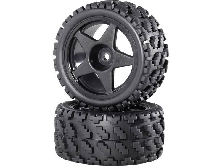 Reely 1:10 Buggy Complete wielen Rally-Block breed 5-spaaks Zwart 2 stuks