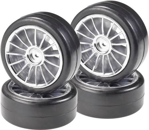 Reely 1:10 Straatmodel Complete wielen Slick 15-spaaks Zilver 4 stuks