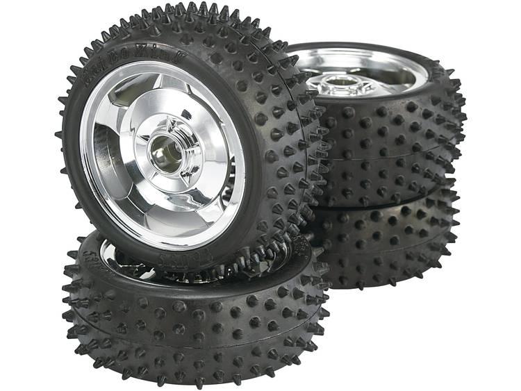Reely 1:10 Buggy Complete wielen Multipin 5-spaaks Chroom 4 stuks