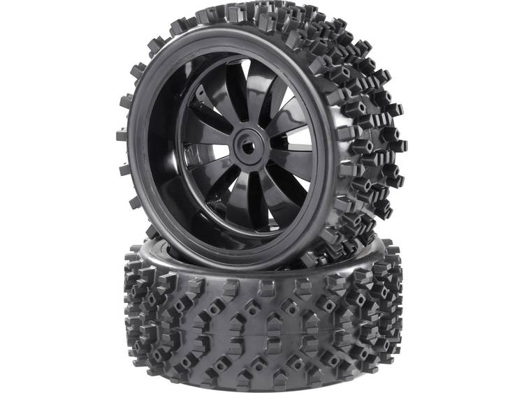 Reely 1:6 Buggy Complete wielen Block-Spike 8-spaaks Zwart (glanzend) 2 stuks